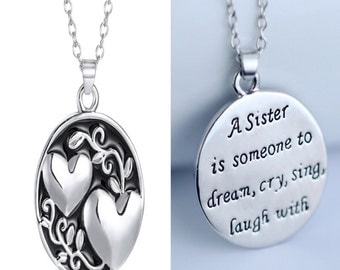 Sister - inspirational necklace quote black silver sisters