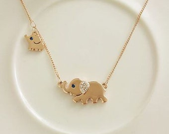 Elephant Necklace - mother and child baby elephant mothers day christmas mommy necklace animal lovers jewelry
