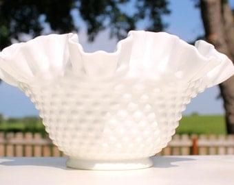 SALE - Fenton Hobnail Milk Glass Bowl