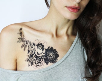 Floral temporary tattoo. Rose tattoo. Liquiskin
