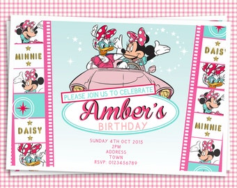 Minnie Mouse & Daisy Duck Customized Birthday Invitation