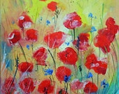 Painting red poppies in the wind