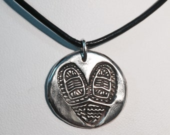Handmade XtraTuf, #SitkaStrong PMC 99.9% Fine Silver pendant on leather cord