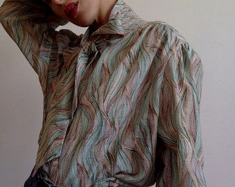 80's patterned blouse