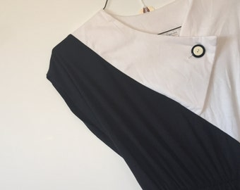 80's b&w colorblock vintage dress