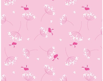 Wildflower Bird Pink - Riley Blake 1/2 Yd and 1 Yd Cut