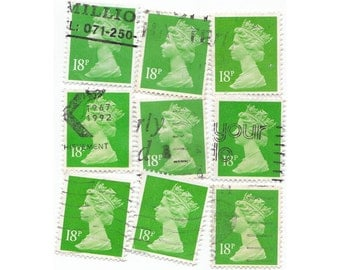 25 Green 18p stamps, England postage stamps - 25 Vintage used Stamps, GB, English
