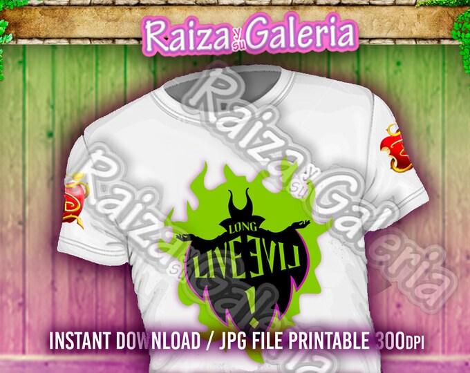 Disney Descendants Long Live Evil Iron On tshirt transfers! Digital Download! Printable Descendants Party Tshirts!
