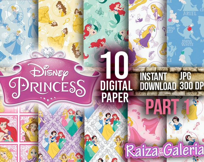 AWESOME Disney PRINCESS Digital Paper. PART 1 Instant Download - Scrapbooking - Princess Printable Paper
