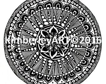 Zentangle Art Print, Mandala Art Print, Wall Art Print, Zen Art, Circular Pattern Wall Art, Abstract Wall Art, Black and White Ink Print