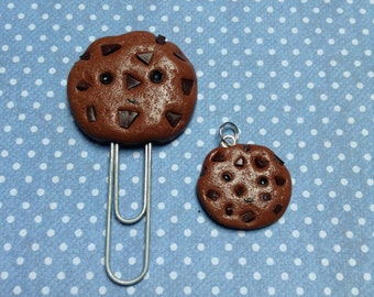 Kawaii Polymer Clay Chocolate Chip Cookie Charm and Paperclip