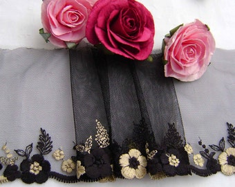 A Beautiful Black & Gold Embroidered Tulle (2.50 metres)