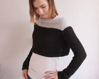 Crop top sweater. Wool sweater. Woman sweater. Knitted sweater.
