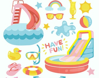 Fun Pool Party Digital Vector Clip art / Summer Clipart Design Illustration / Swimming, Slides, Water Party, Waterpark, Play Time/