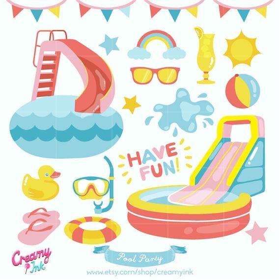Fun Pool Party Digital Vector Clip art / Summer Clipart Design