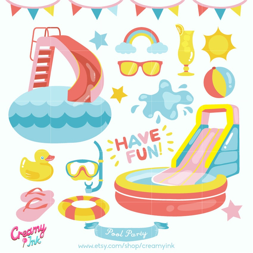 Fun pool party digital vector clip art summer clipart design for Pool design graphic