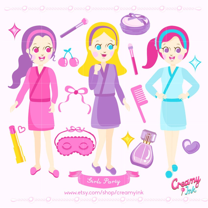 Girls Spa Party Digital Vector Clip art / Beauty Clipart