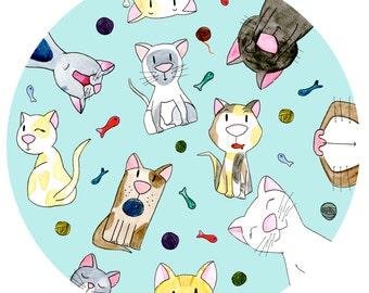 Cats (30 x 30) illustration