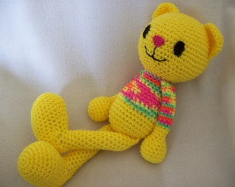Hand crochet ,18 in Yellow Stuffed Cat with multi color top,For children  3 and up