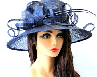Kentucky Derby Hat, Navy Hat, Church hat, Tea Party Hat, Navy Blue Hat, Tea Party Hat, Fashion Hat, Church Hat, Derby Hat