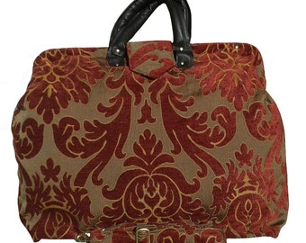 SALE!!!  Weekender Carpet Bag in Burnt Orange & Taupe Medallion Design in Chenille Jacquard Fabric -- Free Shipping