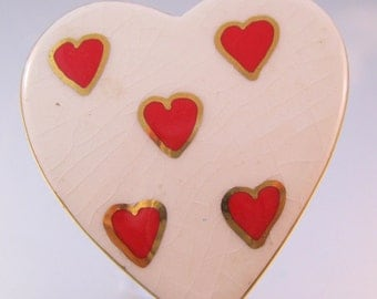 HAND MADE Heart Ceramic Ring One-of-a-kind Vintage Re-Purposed Artisan Adjustable Jewelry