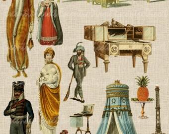 13 Vintage Fanciness & Furniture Clipart (13 Individual Elegant Elements w/ Transparent Background) * Instant Downlaod * Tattoo Flash