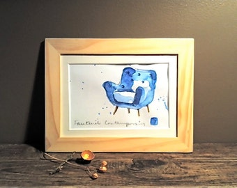 "Original Watercolor - Art - Framed - Home Decor - ""Contemporary Blue Armchair"""