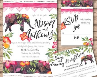 Tropical Wedding Invitation Suite - Print at Home Files or Printed Invitations - Tropical Watercolour Wedding Stationery  - Watercolor