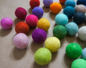 50 Felted Wool Balls 2cm / 20mm Mixed Colors DIY Crafts