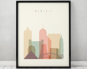 Memphis print, Memphis Poster, Wall art, Memphis Tennessee skyline, City poster, Typography art Home Decor Digital Print, ArtPrintsVicky.