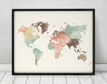 World map print, watercolor travel Map, Large world map, world map watercolor pastel, Fine Art prints, home decor ArtPrintsVicky