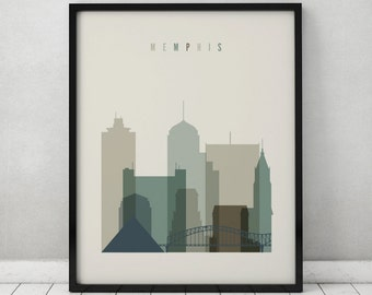 Memphis Art Print Poster Wall Art Memphis Skyline Tennessee Cityscape City