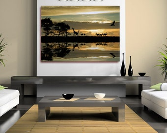 African Sunset Giraffes Canvas Wall Art Rolled Canvas Poster, or Box Framed.(Framed version U.K only) Contemporary Modern