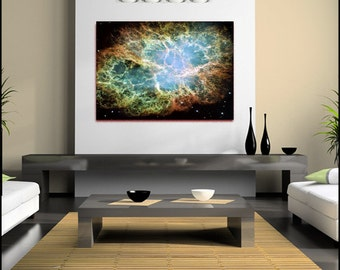 Space Crab Nebula Print Canvas Wall Art  (FRAMED>UK ONLY) Large single Rolled Canvas Poster or Box Framed Courtesy Nasa