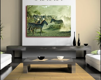 Wild Zebra in Africa Canvas Wall Art Giclee Print (Framed version U.K only) single Canvas Poster or Box Framed Contemporary Photograph