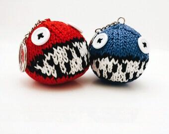 Knitted Yoshi's Woolly World Yarn Ball (Chain Chomp) Keychain *Made to order*
