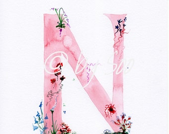 Letter N Watercolour Monogram Print