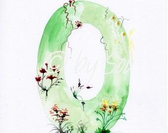 Letter O Watercolour Monogram Print