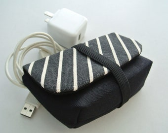 Classic Diagonal Charger & Cable Storage, Cellphone Charger Holder, USB Cable Case, Traveller Gadget Organizer, Cable Holder - Made to Order