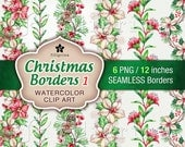 Christmas seamless borders. Holiday WATERCOLOR Clip Art. Floral garland, pine cones, poinsettia, holly berries. 6 elements. Read about usage