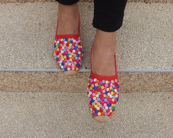 Red  Espadrilles Embroidered with buttons