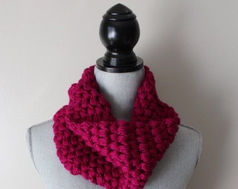 Raspberry Crocheted Cowl