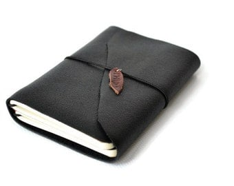Leather Journal | Black A6 Travel Notebook | Diary | Midori | Leather notebook | Book | Refillable | Writing Journal Lined Diary | Traveler