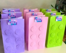 Lego Friends Birthday Party Favour Loot Paper Bag x6 (lilac, pink and green)