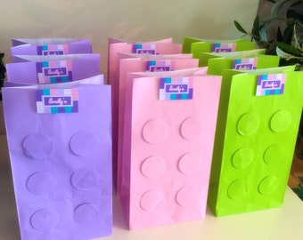 6x Lego Friends Birthday Party Favour Loot Paper Bag x6 (lilac, pink and green)