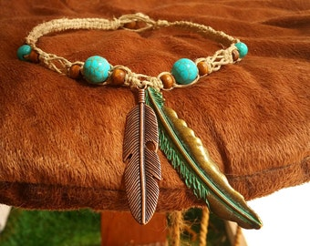 Hemp Necklace with Turquoise and Metal Feathers