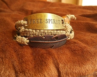 Hemp Wrap Bracelet with Metal Feather and Tag