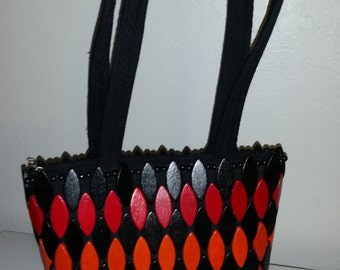 Painted wooden tiled handbag