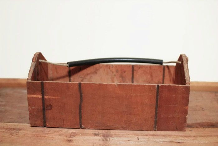 Vintage wooden tool box with rope handle rubber covering